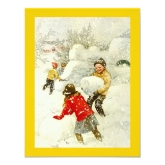 Vintage Snowman Snow Fort Winter Party Invitation