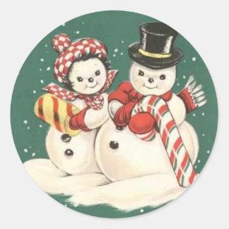Vintage Snowman Sticker