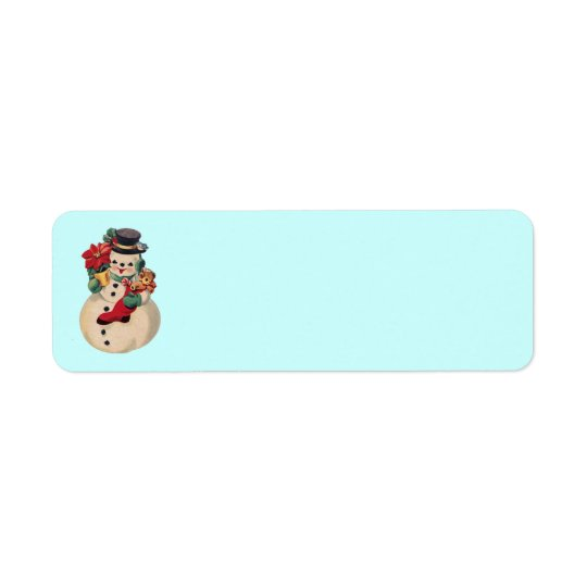 Vintage Snowman with Poinsettia Return Address Label