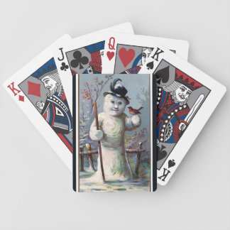 Vintage Snowman with Robin Bicycle Playing Cards