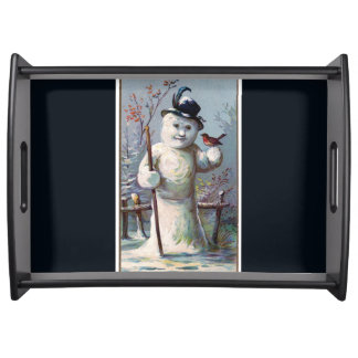 Vintage Snowman with Robin Serving Tray