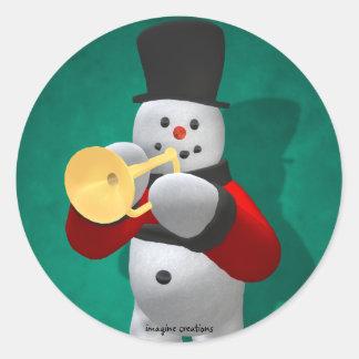 Vintage Snowmen: Trumpeter Classic Round Sticker