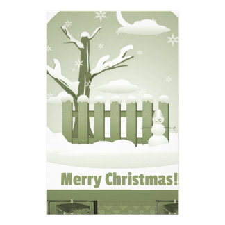 Vintage Snowy Merry Christmas Graphic Custom Stationery