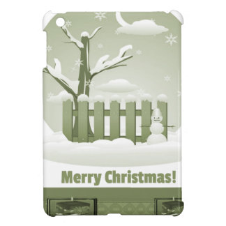 Vintage Snowy Merry Christmas Graphic iPad Mini Cover