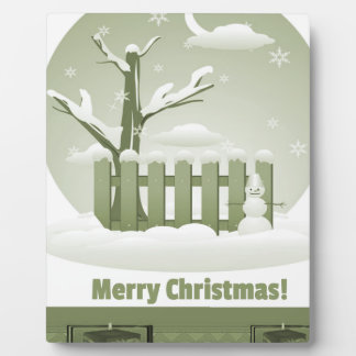Vintage Snowy Merry Christmas Graphic Plaque