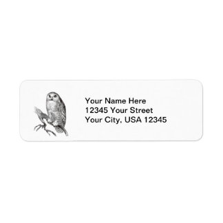 Vintage Snowy Owl Return Address Labels