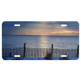 Vintage snowy Seaside Heights sunrise License Plate