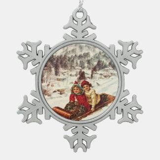 Vintage Snowy Victorian Christmas by Shawna Mac Pewter Snowflake Ornament