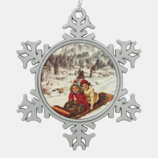 Vintage Snowy Victorian Christmas by Shawna Mac Snowflake Pewter Christmas Ornament