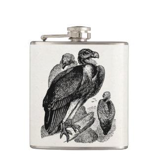 Vintage Sociable Vulture Bird - Vultures Template Hip Flask
