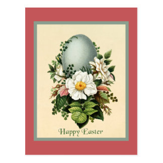 Vintage Soft Blue Easter Egg Surrounded by Flowers Postcard