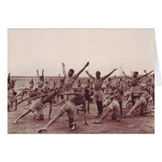Vintage Soldiers Exercising Card
