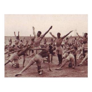 Vintage Soldiers Exercising Postcard