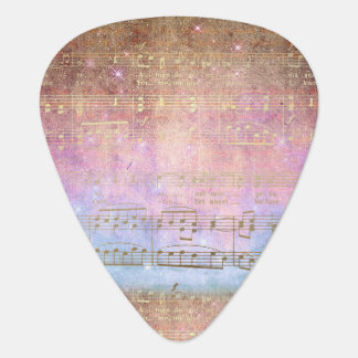 Vintage Song Gold Music Notes Guitar Pick