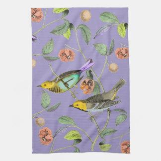 Vintage Songbird Lavender Blue Kitchen Towel