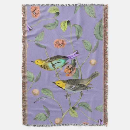 Vintage Songbird Lavender Blue Throw Blanket