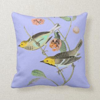 Vintage Songbird Lavender Blue Throw Pillow