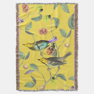 Vintage Songbird Pale Yellow Throw Blanket