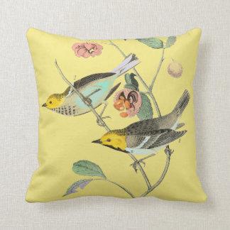 Vintage Songbird Pale Yellow Throw Pillow