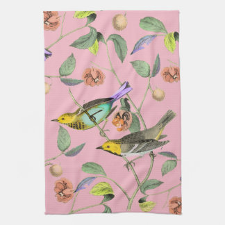Vintage Songbird Pink Kitchen Towel