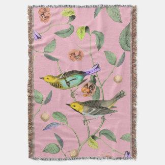 Vintage Songbird Pink Throw Blanket