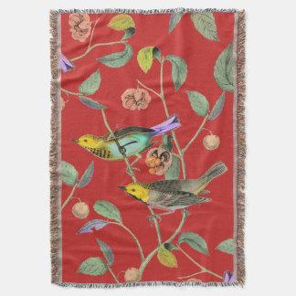 Vintage Songbird Red Throw Blanket