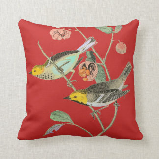 Vintage Songbird Red Throw Pillow