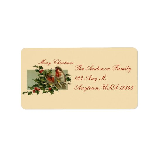 Vintage Songbirds and Holly Address Labels