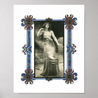 Vintage Sorceress at Her Cauldron Poster Print