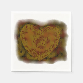 VINTAGE SOUL ROCKABILLY RETRO RUSTY HEART NAPKIN