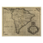 Vintage South America Map, 1690's (circa) Poster