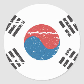 Vintage South Korea Flag Classic Round Sticker