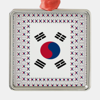 Vintage South Korea Silver-Colored Square Ornament