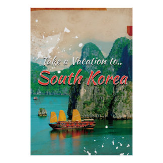 Vintage South Korea Travel Poster