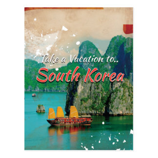 Vintage South Korea Travel Poster Postcard