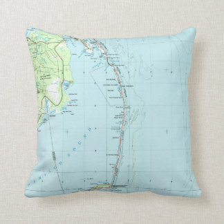 Vintage Southern Outer Banks Map (1957) Throw Pillow
