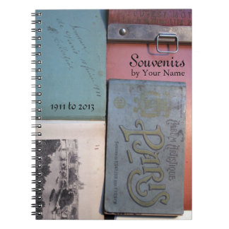 Vintage Souvenirs de Paris Personalized Notebook 2