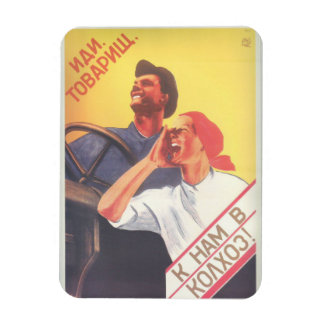 "Vintage Soviet Art ""Join Our Collective Farm"" Magnet"