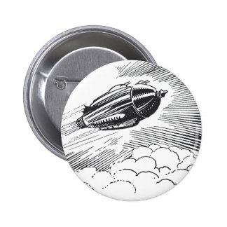 Vintage Spaceship Rocket Flying in the Clouds Pin