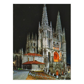 Vintage Spain, Burgos, Cathedral,  by night Postcard