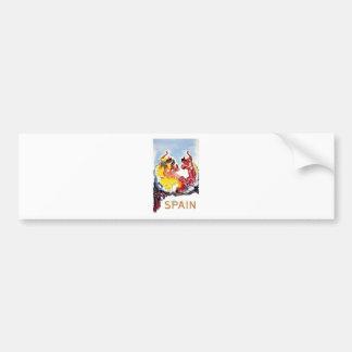 Vintage Spain Flamenco Dancers Travel Poster Bumper Sticker
