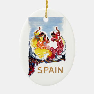 Vintage Spain Flamenco Dancers Travel Poster Ceramic Ornament