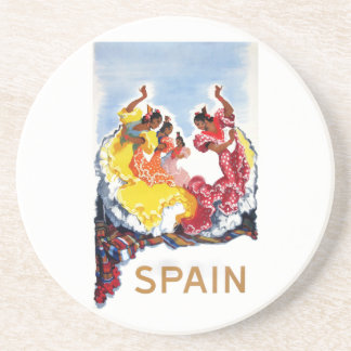 Vintage Spain Flamenco Dancers Travel Poster Coaster