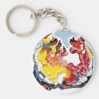 Vintage Spain Flamenco Dancers Travel Poster Keychain