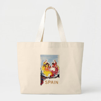 Vintage Spain Flamenco Dancers Travel Poster Large Tote Bag
