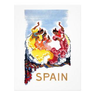 Vintage Spain Flamenco Dancers Travel Poster Letterhead