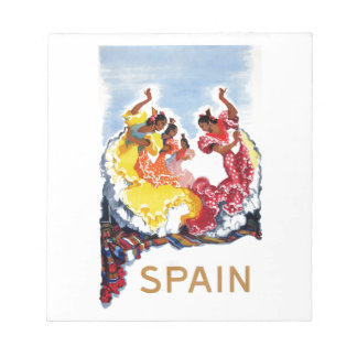 Vintage Spain Flamenco Dancers Travel Poster Notepad