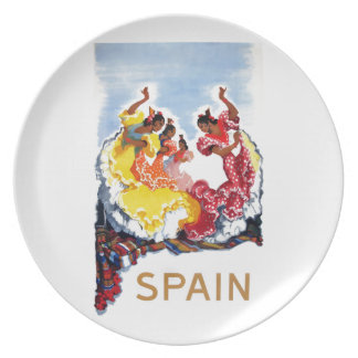 Vintage Spain Flamenco Dancers Travel Poster Plate