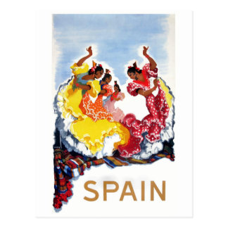 Vintage Spain Flamenco Dancers Travel Poster Postcard