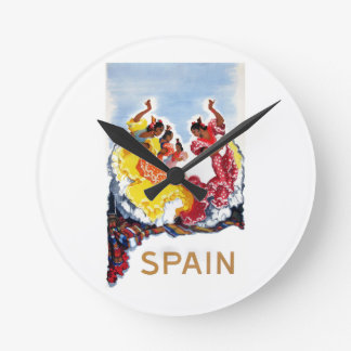 Vintage Spain Flamenco Dancers Travel Poster Round Clock